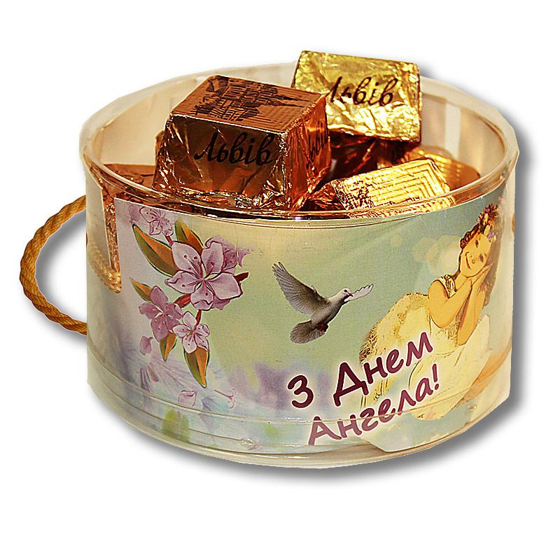 """Тубус  """"С Днем Ангела!"""" с конфетами"""