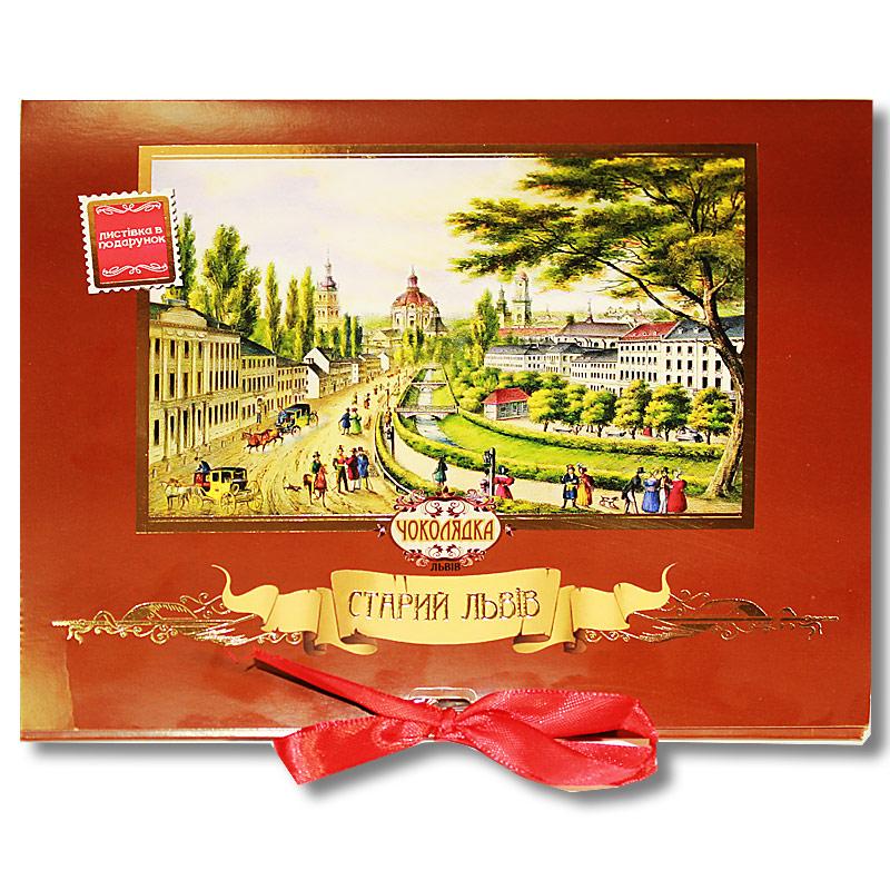 """Шоколадная  открытка """"Старый Львов"""" черный"""